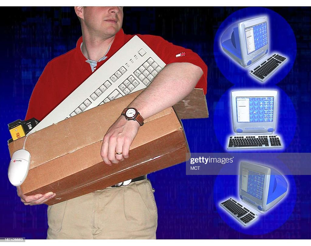 2 col x 3 in / 96x76 mm / 327x259 pixels Kurt Strazdins color photo illustration of man walking with a box of computer equipment; three views of a computer are off to the side.