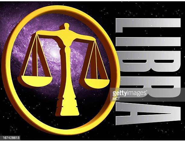 2 col x 325 in / 108x83 mm / 368x281 pixels Kurt Strazdins color illustration of the zodiac sign for Libra the scales
