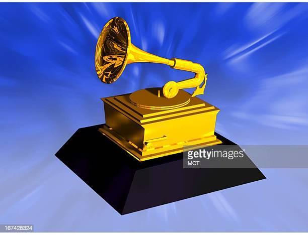 2 col x 325 inches/108x83 mm/368x281 pixels Kurt Strazdins color illustration of a Grammy award