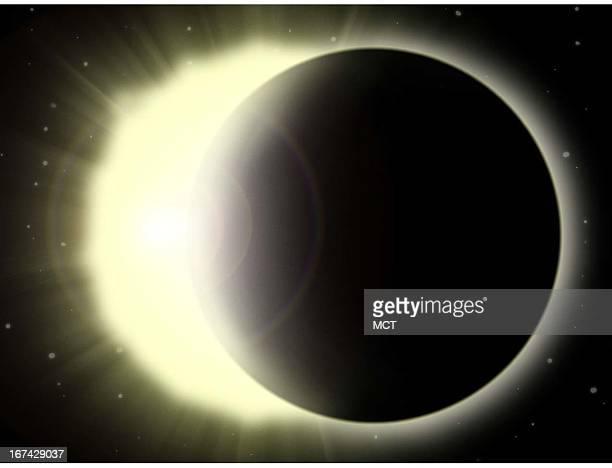 2 col x 325 inches/108x83 mm/368x281 pixels Kurt Strazdins color illustration of a solar eclipse