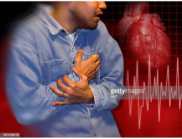 2 col x 325 inches/108x83 mm/368x281 pixels Kurt Strazdins color photo illustration of a man clutching his right arm and chest along with a heart and...