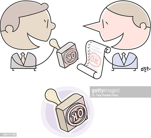 2 col x 35 in / 96x89 mm / 327x302 pixels David Steinlicht color illustration of a businessman giving a stamp of approval to a contract