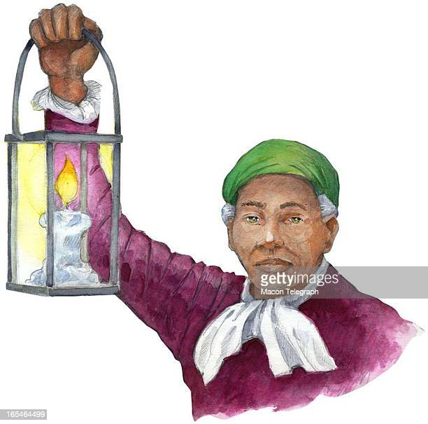 2 col x 375 in / 96x95 mm / 327x324 pixels Ric Thornton color illustration of Harriet Tubman holding a lantern to light the Underground Railroad The...
