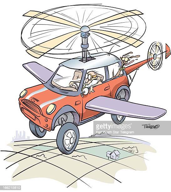2 col x 425 in / 96x108 mm / 327x367 pixels Tim Bedison color illustration of average guy in his flying car a commuter's dream