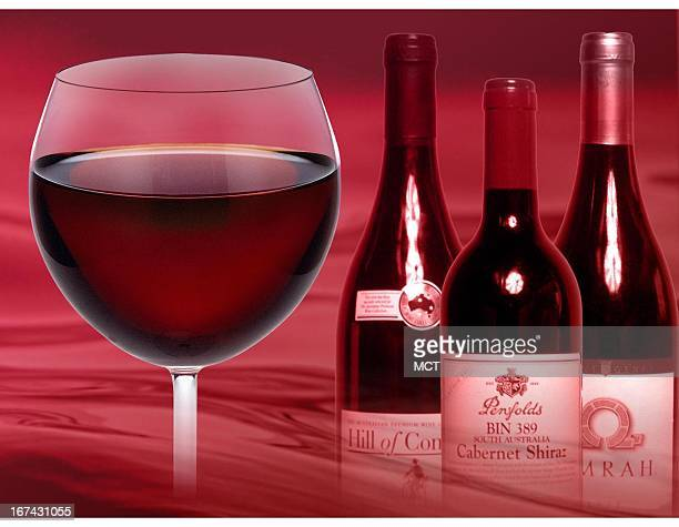 Col. X 5 inches/164x127 mm/558x432 pixels Kurt Strazdins color illustration of a glass of red wine and three bottles of wine.