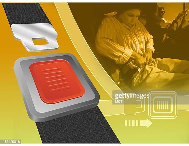 3 col x 5 inches/164x127 mm/558x432 pixels Kurt Strazdins color illustration of a seatbelt buckle and a woman attaching her car seatbelt