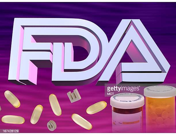 3 col x 5 inches/164x127 mm/558x432 pixels Kurt Strazdins color illustration of the initials 'FDA' along with pills and prescription medicine bottles
