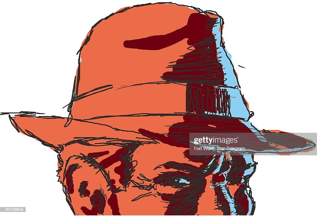 4 col x 5.25 in / 196x133 mm / 667x454 pixels Jim Atherton color illustration of a man wearing a fedora, much like a private eye.