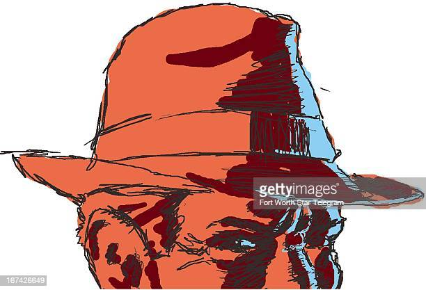 4 col x 525 in / 196x133 mm / 667x454 pixels Jim Atherton color illustration of a man wearing a fedora much like a private eye