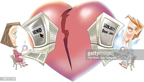 5 col x 55 in / 246x140 mm / 837x475 pixels John T Valles and Tim Bedison color illustration of an email breakup with broken heart in background
