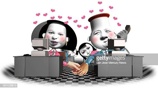 Col x 5.5 in / 246x140 mm / 837x475 pixels Reid Brown color illustration of co-workers holding hands in an office romance while others look...