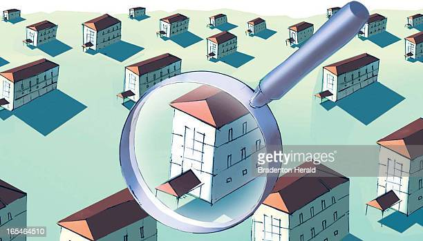 3 col x 6 in / 146x152 mm / 497x518 pixels Craig White color illustration of one apartment building among others veiwed through a magnifying glass
