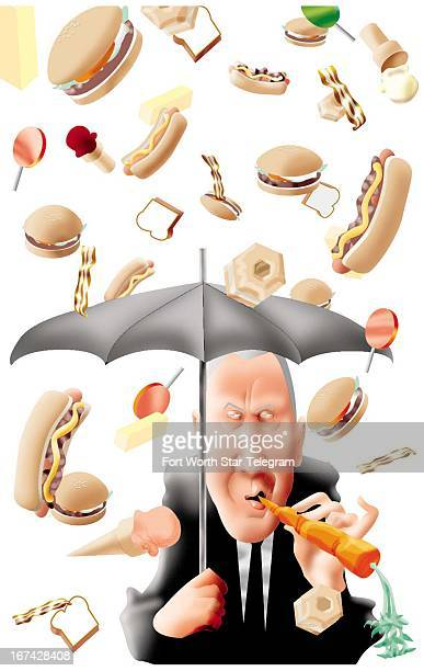 2 col x 6 in / 96x152 mm / 327x518 pixels Jim Atherton color illustration of man reluctantly eating a carrot as he holds an umbrella to protect him...