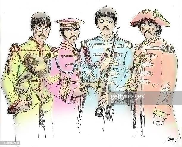 4 col x 625 in / 196x159 mm / 667x540 pixels Tim Goheen color illustration of the Beatles in Sgt Pepper garb