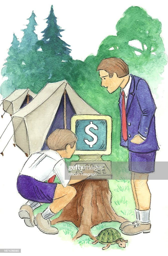 2 col x 6.5 in / 108x165 mm / 368x562 pixels Ric Thornton color illustration of a child and a counselor at summer computer camp; a computer sits on a tree in front of tents and the monitor displays a dollar sign. (The Telegraph (Macon, Ga.)/MCT via Getty Images)