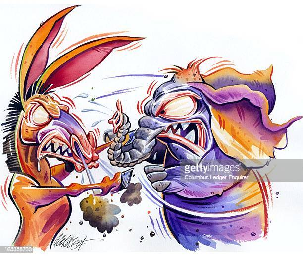 4 col x 65 in / 196x165 mm / 667x562 pixels Don Coker color illustration of a battle between an enraged donkey and elephant of the Democratic and...