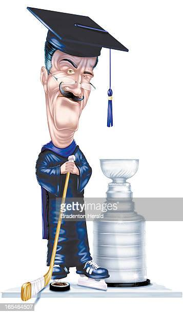 2 col x 65 in / 96x165 mm / 327x562 pixels Ron Borresen color illustration of hockey 'professor' in skates standing next to the Stanley Cup