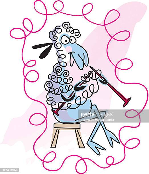 3 col x 67 in / 146x170 mm / 497x579 pixels Camille Weber color illustration of a sheep happily knitting with yarn from her own body