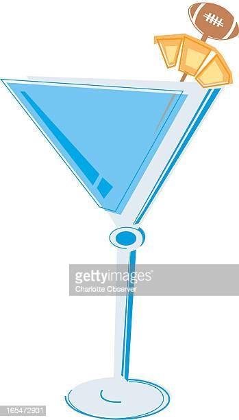 2 col x 67 in / 96x170 mm / 327x579 pixels Jason Benavides color illustration of a martini garnished with a pineapple on a football toothpick
