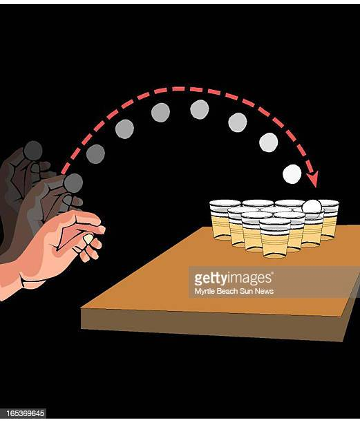 3 col x 675 in / 146x171 mm / 497x583 pixels Rob Smoak color illustration of hand tossing a pingpong ball into cups of beer on table The Sun News...