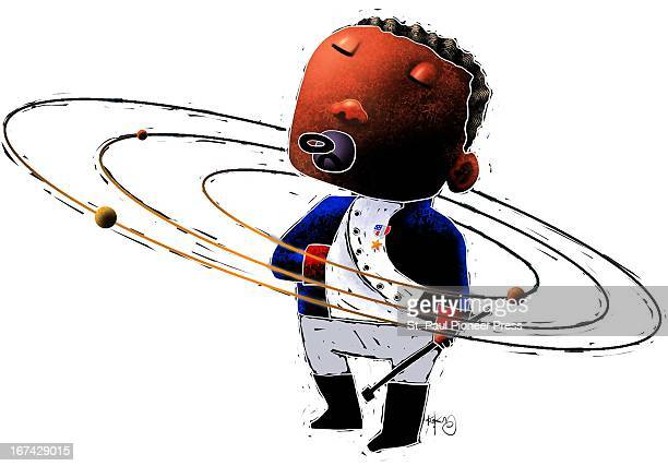 5 col x 675 in / 246x171 mm / 837x583 pixels Kirk Lyttle illustration of a toddler with a pacifier standing in the center of planets orbiting in a...