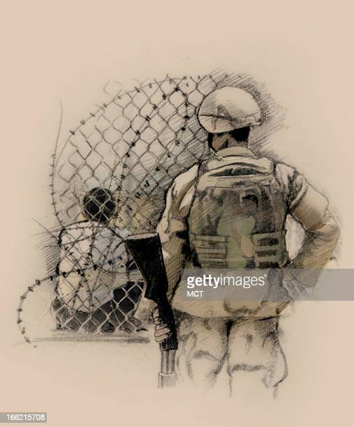 Col x 7 in / 146x178 mm / 497x605 pixels Lee Hulteng illustration of detainee at U.S. Military camp.