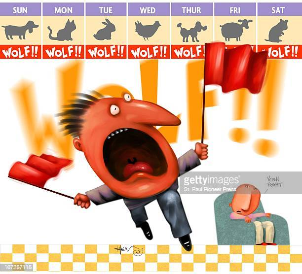 4 col x 7 in / 196x178 mm / 667x605 pixels Kirk Lyttle color illustration of a man waving red flags and crying wolf every day of the week when in...