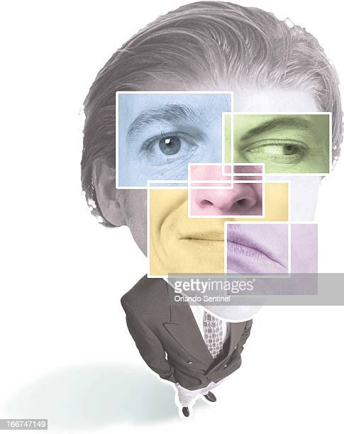 3 col x 725 in / 146x184 mm / 497x626 pixels Lisa A Frasier color illustration of a businessman with two facial expressions straightforward and...