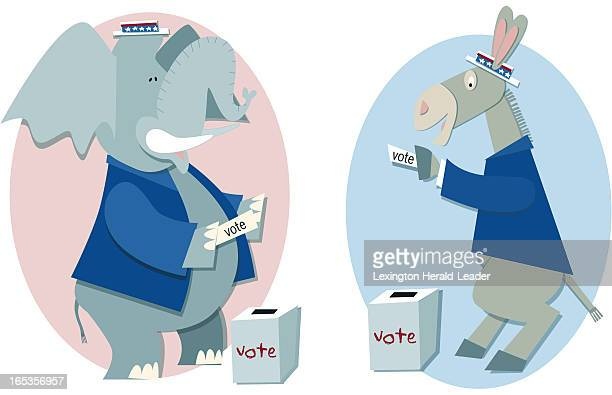 6 col x 75 in / 295x191 mm / 1004x648 pixels Camille Weber color illustration of a donkey and elephant voting