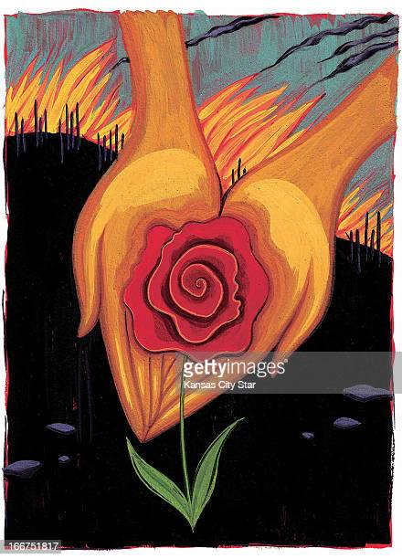 3 col x 8 in / 146x203 mm / 497x691 pixels Christine Schneider color illustration of hands offering a rose against a background of fire