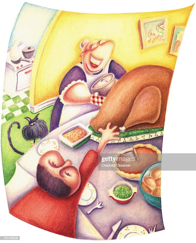 3 col x 8 in / 164x203 mm / 558x691 pixels Michelle Hazelwood color illustration of child reaching for food at a Thanksgiving feast while his happy grandmother brings more food to the table.