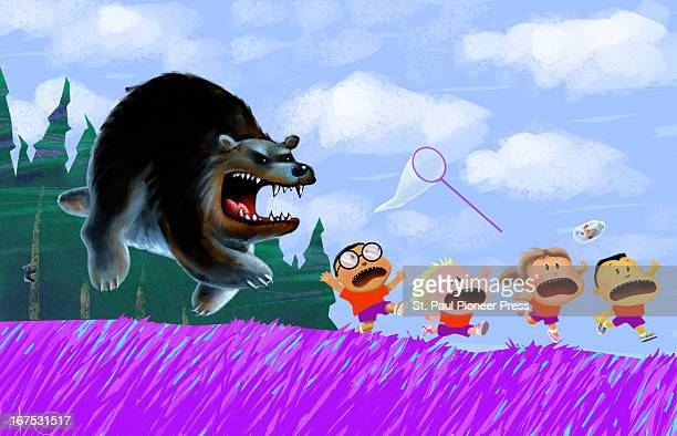 6 col x 825'/330 x 210mm Kirk Lyttle color illustration of angry mother bear in pursuit of four terrified young campers