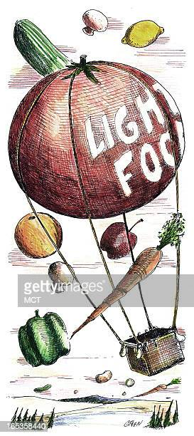 2 col x 85 in / 96x216 mm / 327x734 pixels Tim Goheen color illustration of tomato balloon labeled 'Light food' floating among mushrooms lemons...
