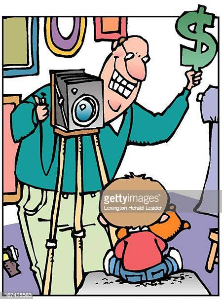3 col x 875 in / 164x222 mm / 558x756 pixels Chris Ware color illustration of a child photographer holding up a dollar sign to make his subject smile