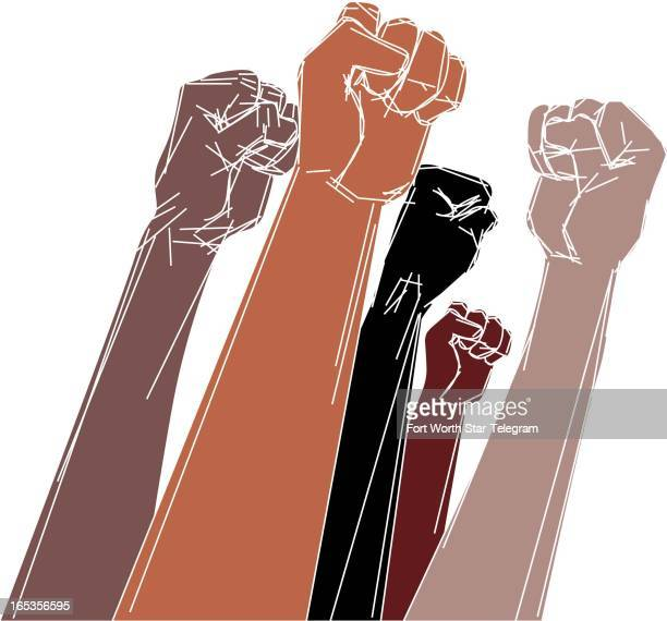 5 col x 9 in / 246x229 mm / 837x778 pixels Jim Atherton color illustration shows arms and fists of various skin tones held high