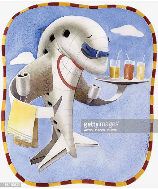 4 col x 925 in / 196x235 mm / 667x799 pixels Rick Steinhauser color illustration of an airplane serving beverages a smile