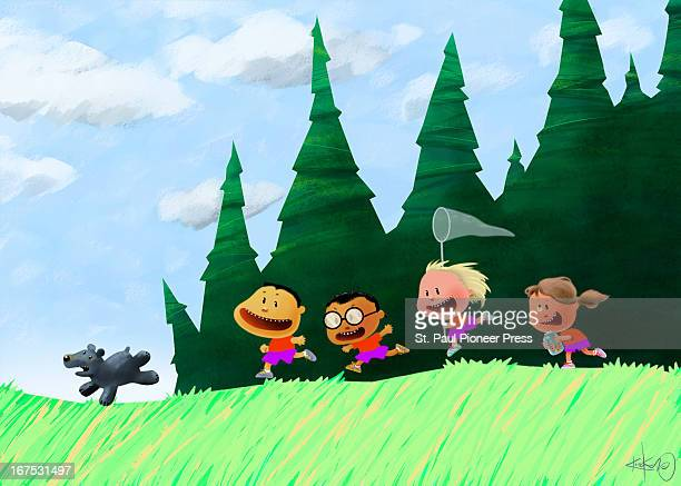 6 col x 925'/330 x 235mm Kirk Lyttle color illustration of four children as happy campers running gleefully in pursuit of a baby bear