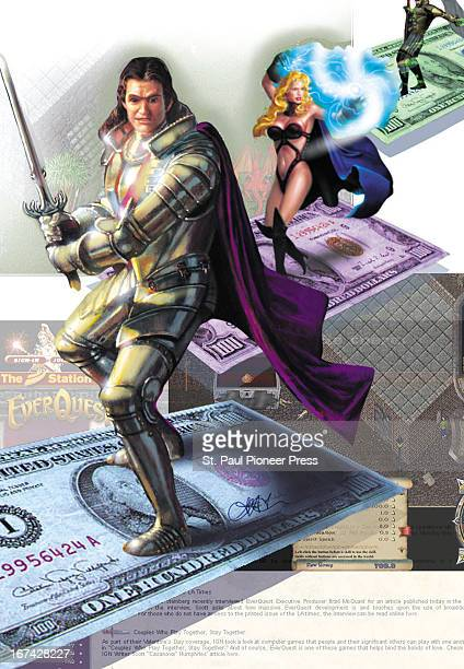 2 col x 93 in / 108x236 mm / 368x804 pixels Alex Leary color illustration of roleplaying video game characters standing on US currency