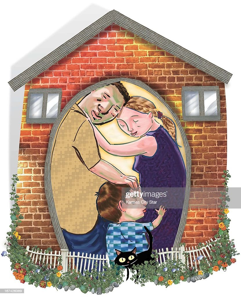 4 col x 9.5 in / 196x241 mm / 667x821 pixels Hector Casanova color illustration of a loving family linked together in an embrace inside their home.
