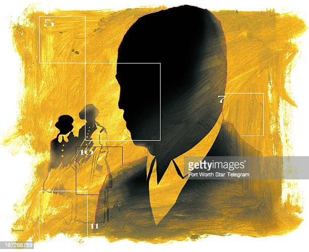 6 col x 95 in / 295x241 mm / 1004x821 pixels Mark Hoffer color illustration of AfricanAmerican silhouetted figures in modern and historical dress...
