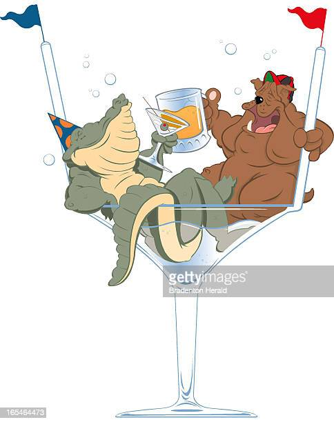4 col x 975 in / 196x248 mm / 667x842 pixels Ron Borresen color illustration of a Florida Gator and Georgia Bulldog sitting in a cocktail glass and...