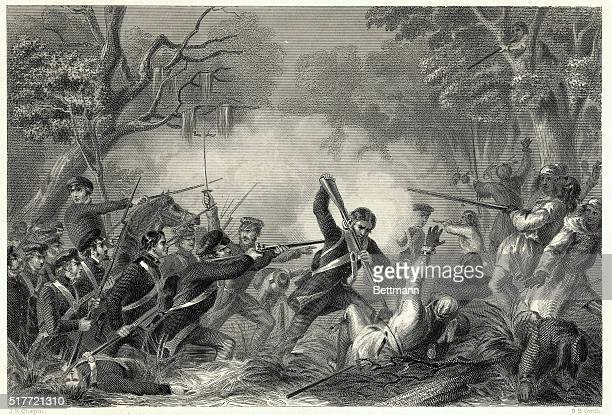 Col. Zachary Taylor fighting in the Battle of Okeechobee, Florida, December 25, 1837. Undated engraving, circa 1860.