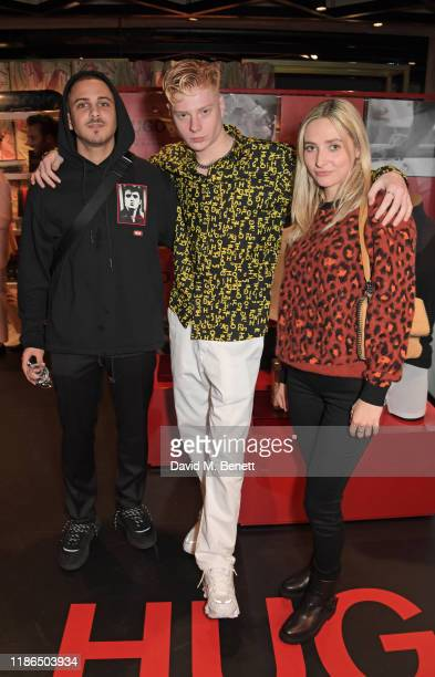 Col3trane Leo Mandella and Dylan Weller attend the Hugo X Liam Payne Bodywear Campaign party at Flannels on December 4 2019 in London England