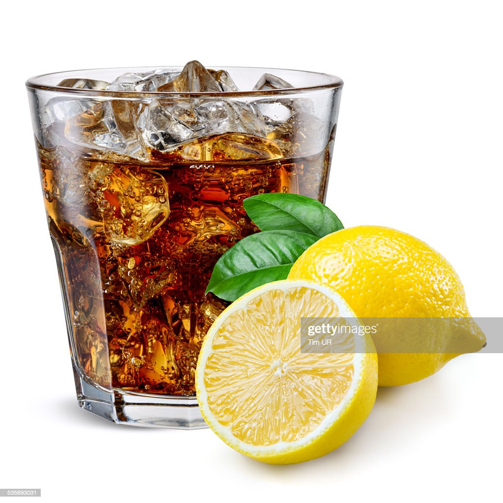 Cola glass with lemon isolated on white. : Stock Photo