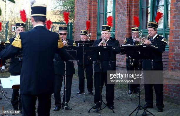 A cola miner orchestra plays during the Steiger Award at Coal Mine Hansemann 'Alte Kaue' on March 25 2017 in Dortmund Germany