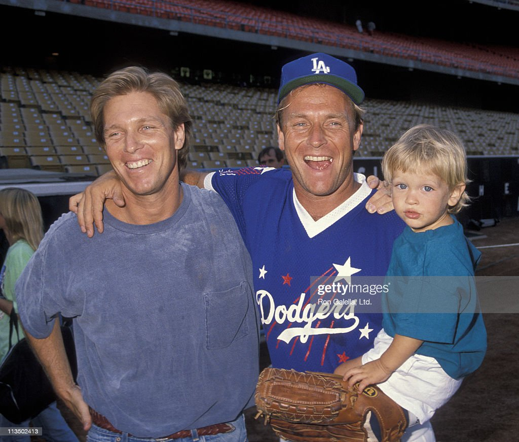 Colan Bernsen, Corbin Bernsen and Oliver Bernsen during Hollywood All-Star Game at Dodger Stadium in Los Angeles, California, United States.