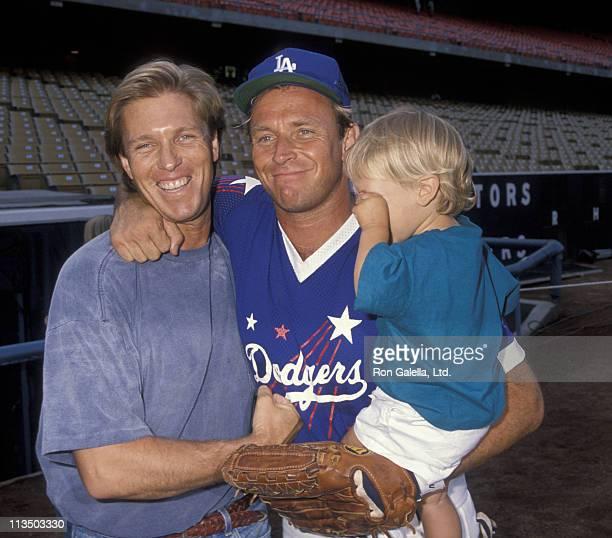 Colan Bernsen Corbin Bernsen and Oliver Bernsen during Hollywood AllStar Game at Dodger Stadium in Los Angeles California United States