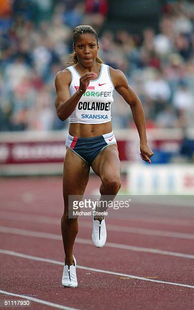 Colander La Tasha of the USA in action during the Women's 100 metres race at the IAAF Golden Spike meet in Ostrava Czech Republic