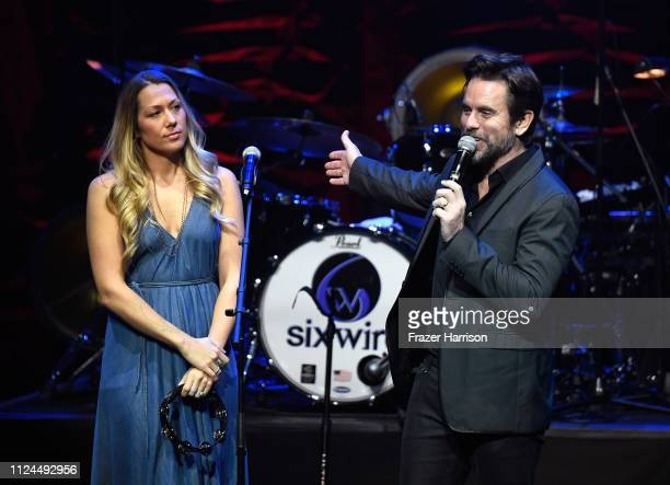 Colbie Caillat of the band Gone West and Charles Esten onstage at ACM Lifting Lives Presents: Borderline Strong Concert at Thousand Oaks Civic Arts...