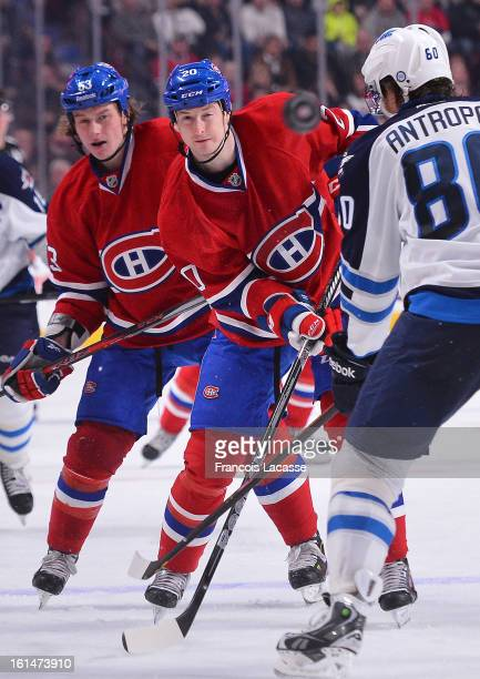 Colby Armstrong of the Montreal Canadiens takes a shot in the third period against the Winnipeg Jets during the NHL game on January 29 2013 at the...